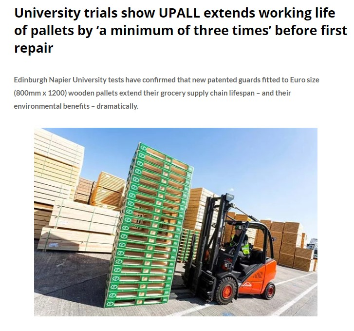 University Trials show UPALL Extends Working Life of Pallets